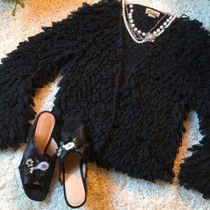 Fluffy Big Loops Black Sweater